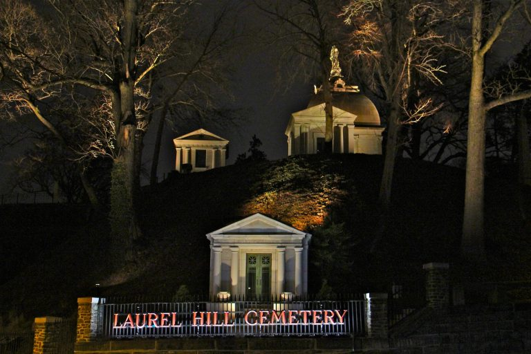 A new project highlights the architecture and landscape of Laurel Hill Cemetery with nightly illumination. (Emma Lee/WHYY)