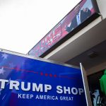 The Trump Store in Bensalem saw large crowds of shoppers on Presidents Day Weekend. (Becca Haydu for WHYY)