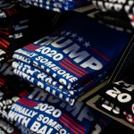 Trump 2020 t-shirts for sale at the Trump Store in Bensalem, Pennsylvania. (Becca Haydu for WHYY)