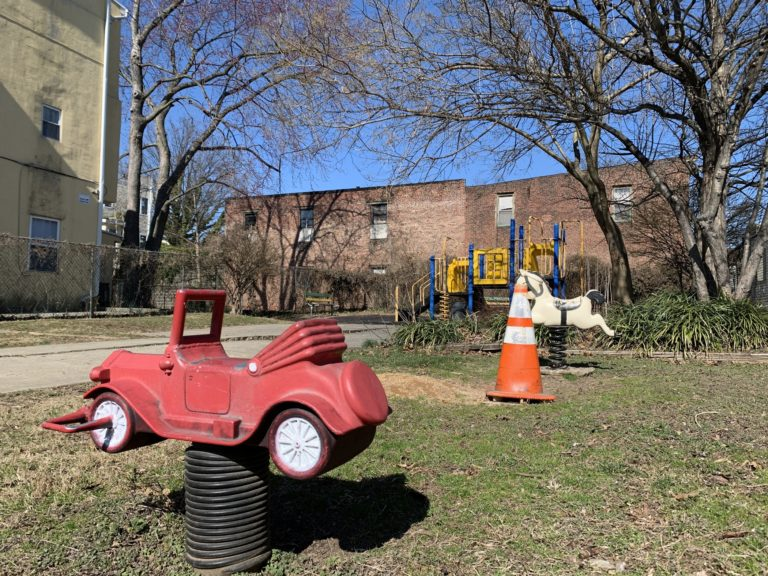 A playground on Powelton Avenue, purchased from the City of Philadelphia for $1, has been sold to a developer. (Kelly Brennan/WHYY)
