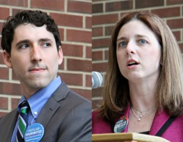 Democratic candidates for congress in Pennsylvania's 1st Congressional District, Skylar Hurwitz (left) and Christina Finello, debate at Bucks County Community College in Bristol. (Emma Lee/WHYY)