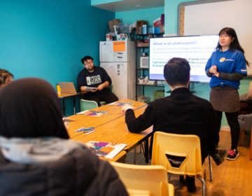Stephanie Sun and Sarun Chan co-facilitated the Census Champion workshop at the Cambodian Association of Greater Philadelphia on Saturday. (Becca Haydu for WHYY)