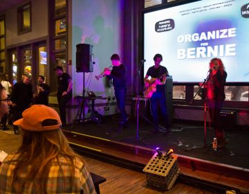 Local band Upholstery performs at the Philly for Bernie Variety Show fundraiser. (Kimberly Paynter/WHYY)