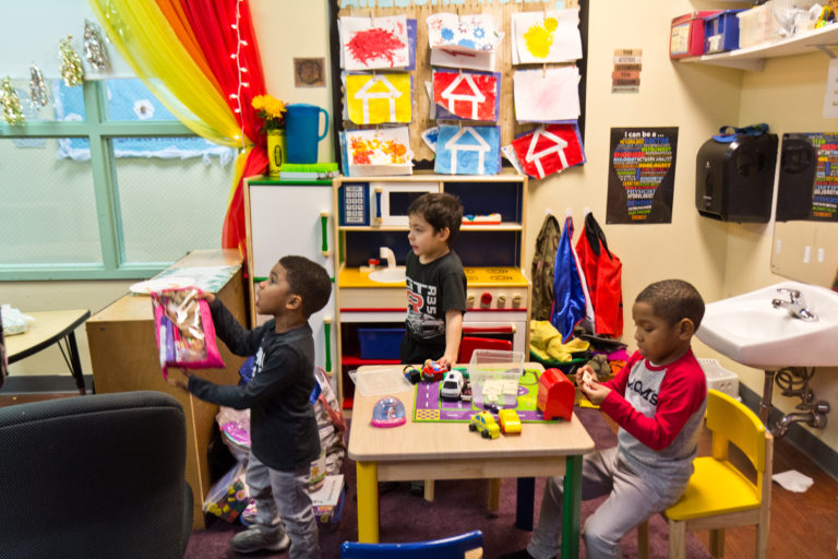 "Kids in SPIN's autism support preschool classroom do ""center time"" where they do independent activities related to their lessons. (Kimberly Paynter/WHYY)"