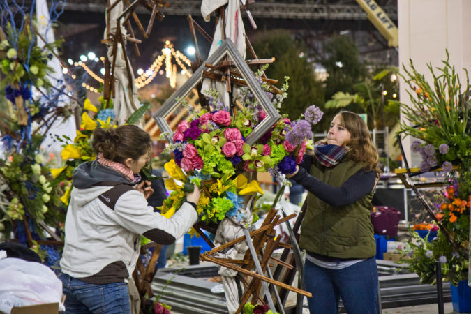"""First Impression"" a design by Langhorne's Flowers by David, being built Thursday at the 2020 Flower Show. (Kimberly Paynter/WHYY)"