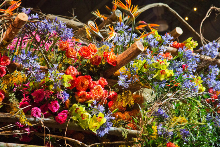 "Flowers atop the main exhibit of the 2020 Philadelphia Flower Show, themed ""Rivera Holiday."" (Kimberly Paynter/WHYY)"