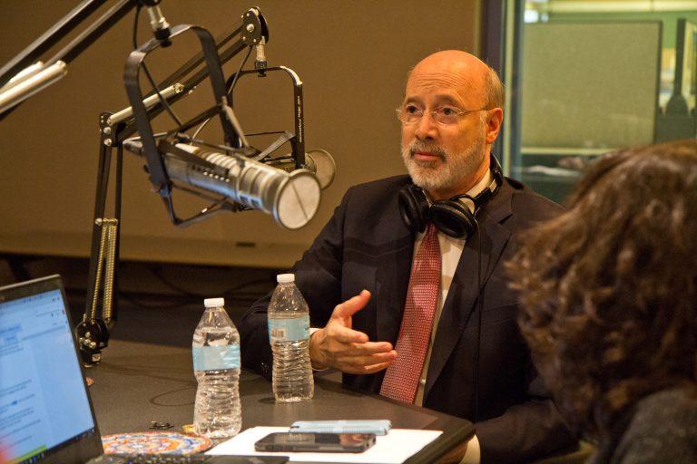 Pennsylvania Gov. Tom Wolf talks to Keystone Crossroads staff at WHYY in Philadelphia. (Kimberly Paynter/WHYY)