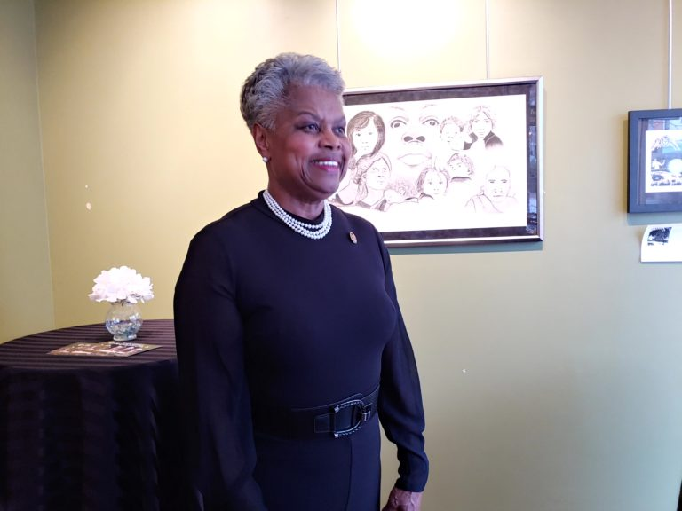 National Coalition of 100 Black Women President Virginia Harris visited Delaware chapter members to discuss disparities in the health care system. (Zoë Read/WHYY)