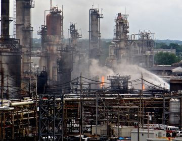A fire burns at the Philadelphia Energy Solutions refinery