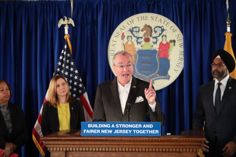 Gov. Phil Murphy announces legislation to overhaul New Jersey's anti-workplace harassment law for public and private employers on February 18. (Edwin J. Torres for the Governor's Office)