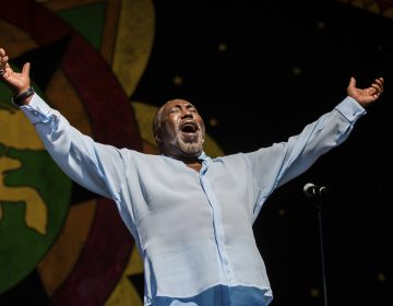 Eddie Levert, of the O'Jays, greets fans on the Congo Square Stage during the New Orleans Jazz & Heritage Festival in New Orleans, Sunday, April 28, 2019. (AP Photo/Sophia Germer)