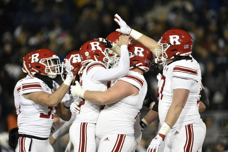 Rutgers teammates celebrate with kicker Justin Davidovicz (95) after a field goal during the Rutgers Scarlet Knights vs. Penn State Nittany Lions November 30, 2019 at Beaver Stadium in University Park, PA. (Photo by Randy Litzinger/Icon Sportswire) (Icon Sportswire via AP Images)