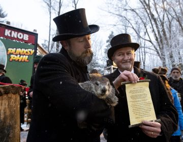 Groundhog Club co-handler Al Dereume holds Punxsutawney Phil, the weather prognosticating groundhog, during the 134th celebration of Groundhog Day on Gobbler's Knob in Punxsutawney, Pa. (Barry Reeger/AP Photo)