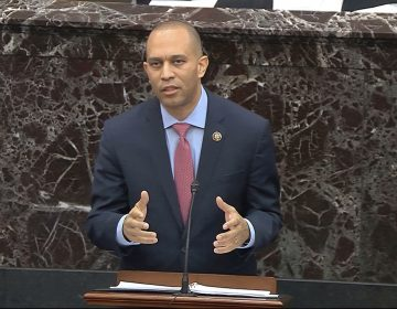 In this image from video, House impeachment manager Rep. Hakeem Jeffries, D-N.Y., speaks during closing arguments in the impeachment trial against President Donald Trump in the Senate at the U.S. Capitol in Washington, Monday, Feb. 3, 2020. (Senate Television via AP)