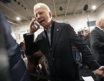 Democratic presidential candidate former Vice President Joe Biden wishes Barbara Moroney, of Rocky Point, N.Y., a happy 80th birthday during a campaign rally, Tuesday, Feb. 4, 2020, in Nashua, N.H. (Mary Altaffer/AP Photo)