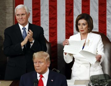 House Speaker Nancy Pelosi of Calif., tears her copy of President Donald Trump's s State of the Union address after he delivered it to a joint session of Congress on Capitol Hill in Washington, Tuesday, Feb. 4, 2020. Vice President Mike Pence is at left. (Patrick Semansky/AP Photo)