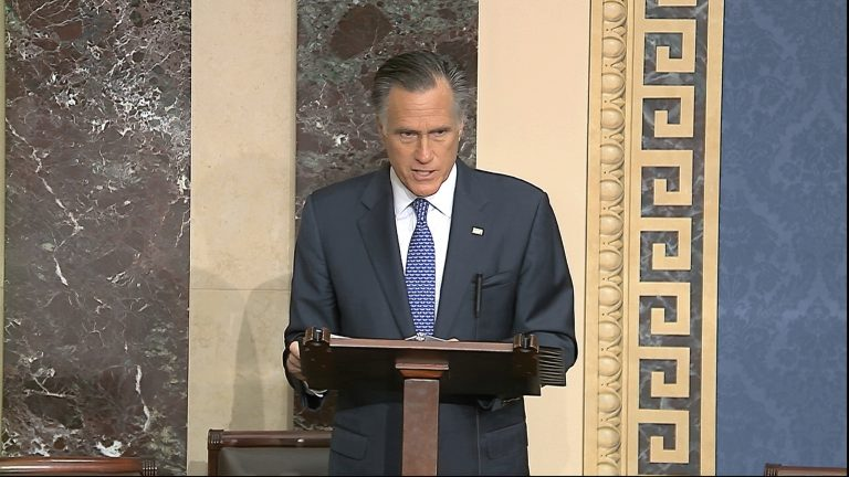 In this image from video, Sen. Mitt Romney, R-Utah, speaks on the Senate floor about the impeachment trial against President Donald Trump at the U.S. Capitol in Washington, Wednesday, Feb. 5, 2020. The Senate will vote on the Articles of Impeachment on Wednesday afternoon. (Senate Television via AP)