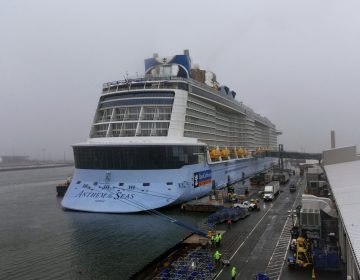 The cruise ship Anthem of the Seas is docked at the Cape Liberty Cruise Port on Friday, Feb. 7, 2020, in Bayonne, N.J. Four passengers were screened for coronavirus and tested negative. (AP Photo/Kevin Hagen)