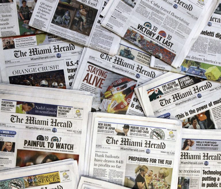 Copies of the McClatchy Co. owned Miami Herald newspaper are shown Wednesday, Oct. 14, 2009 in Miami. (Wilfredo Lee/AP Photo)