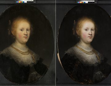 This photo combo provided by Allentown Art Museum shows from left, before and after restoration of a painting called