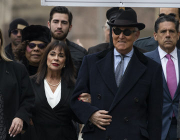 Roger Stone accompanied by his wife Nydia Stone, second from left, arrives at federal court in Washington, Thursday, Feb. 20, 2020. (Manuel Balce Ceneta/AP Photo)