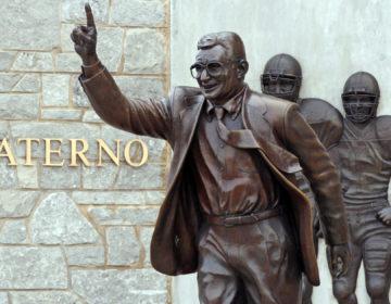 A statue of former Penn State University head football coach Joe Paterno stands outside Beaver Stadium on Thursday, July 12, 2012.  (Gene J. Puskar/AP Photo)