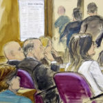 In this court room drawing, Harvey Weinstein, at center second from right, sits at defense table surrounded by his attorneys Friday, Feb. 21, 2020 at Manhattan Supreme Court in New York. Jurors file out of the courtroom  after being told by the judge to go back and keep deliberating. Earlier they sent out a note saying they were deadlocked on two charges. Attorney Gloria Allred seated in audience, behind Harvey Weinstein is far left. (Elizabeth Williams via AP)