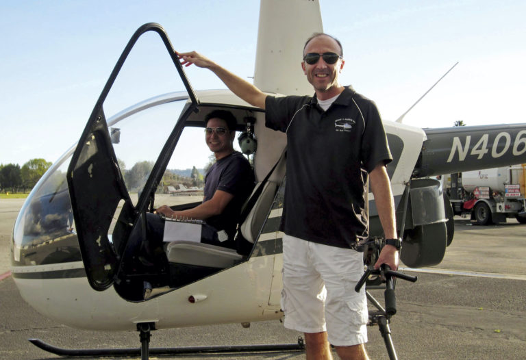 Helicopter pilot Ara Zobayan violated federal flight rules in 2015 when he flew into busy airspace near Los Angeles International Airport despite being ordered not to by air traffic control, according to records from the Federal Aviation Administration obtained by the Los Angeles Times. (Group 3 Aviation via AP Photo, File)