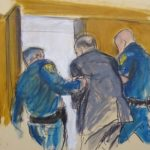 In this courtroom sketch, Harvey Weinstein, center, is led out of Manhattan Supreme Court by court officers after a jury convicted him of rape and sexual assault, Monday, Feb. 24, 2020 in New York. The jury found him not guilty of the most serious charge, predatory sexual assault, which could have resulted in a life sentence in New York. (Elizabeth Williams via AP)