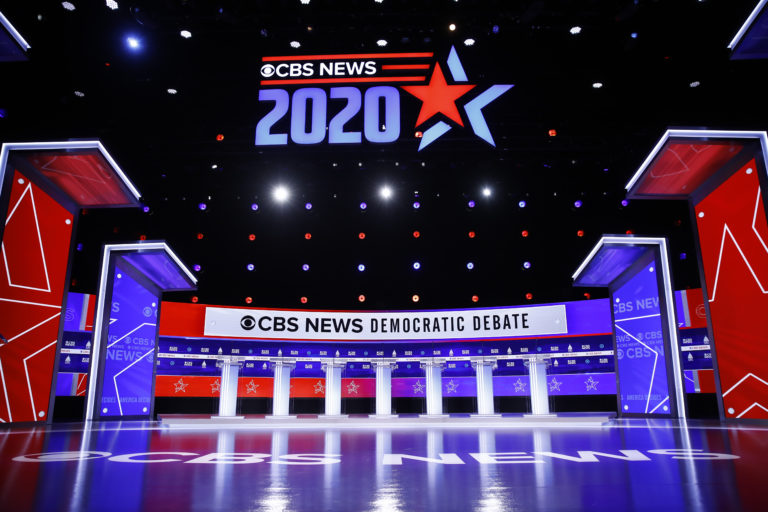 The stage is set for a Democratic presidential primary debate, Tuesday, Feb. 25, 2020, in Charleston, S.C. (AP Photo/Matt Rourke)