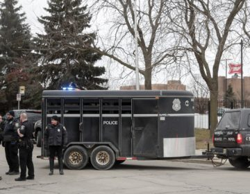 Police work outside the Molson Coors Brewing Co. campus in Milwaukee on Wednesday, Feb. 26, 2020, after reports of a possible shooting. (Morry Gash/AP Photo)