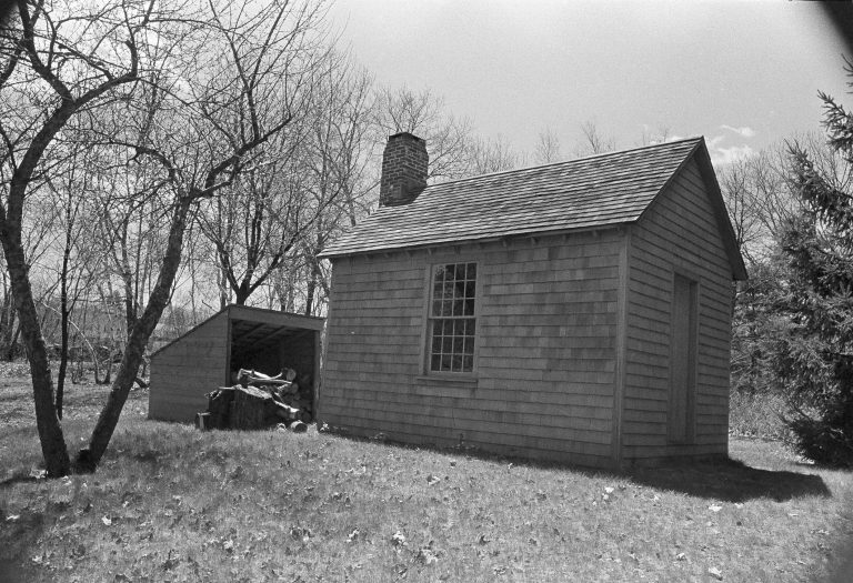 This is a reproduction of the Thoreau cabin on the property of Roland W. Robbins in Concord, Mass., former president of National Thoreau Society, May 12, 1971. (AP Photo/Frank C. Curtin)