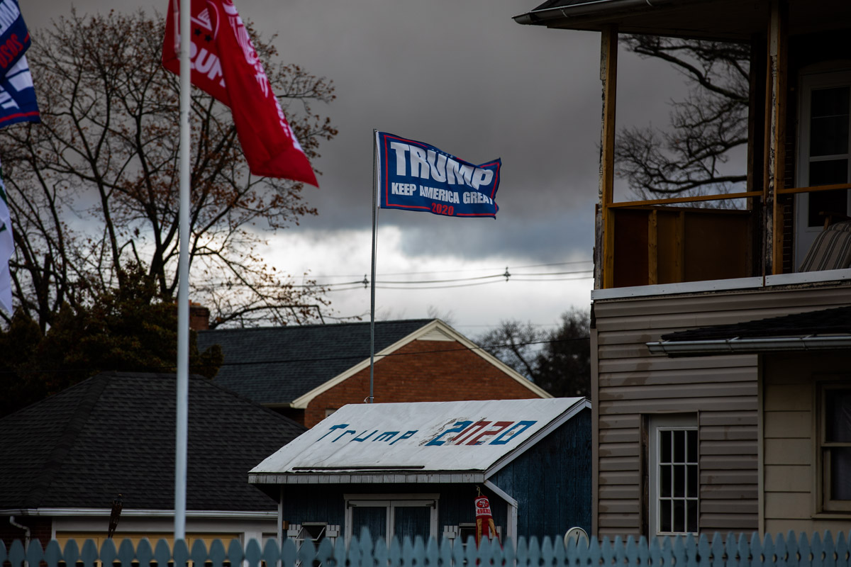 In 2016, 71 percent of Franklin County voted for President Donald Trump. You'll find evidence of his continued support in at homes in the area. (Jeffrey Stockbridge for Keystone Crossroads)