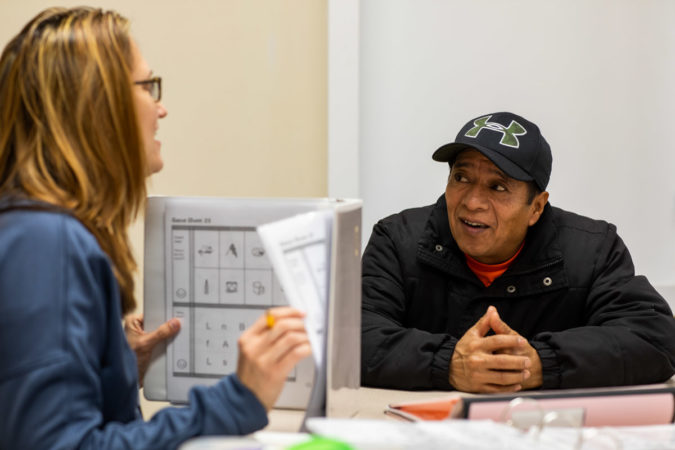 A man named Jorge takes classes at the King Street Ministry Center. (Jeffrey Stockbridge for Keystone Crossroads)