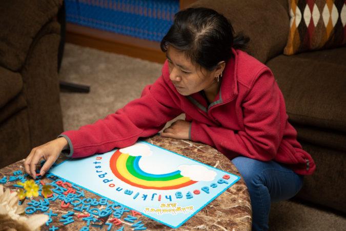 Margarita takes literacy and language classes at the King Street Ministry Center. (Jeffrey Stockbridge for Keystone Crossroads)