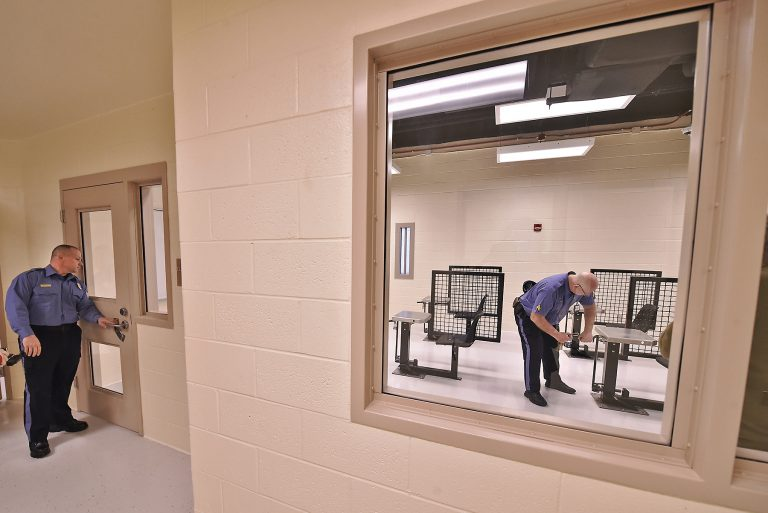 A classroom in the expanded maximum security education building at the James T. Vaughn Correctional Facility in Smyrna, Delaware. (Butch Comegys for WHYY)