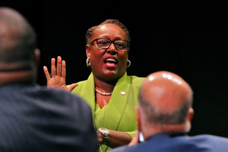 Philadelphia Register of Wills Tracey Gordon is sworn in on Jan. 6, 2020. (Emma Lee/WHYY)