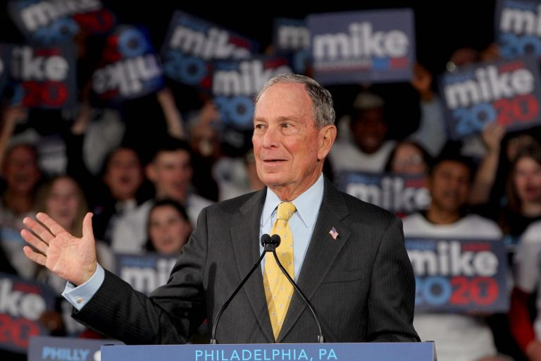 Democratic Presidential candidate Michael Bloomberg speaks at the National Constitution Center in Philadelphia. (Emma Lee/WHYY)