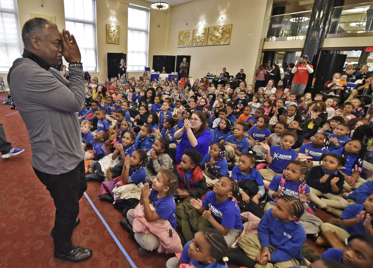 Actor LeVar Burton, 63, greets hundreds of young students at the Wilmington Public Library on Thursday, Feb., 20, 2020, in downtown Wilmington, Delaware.    ( Butch Comegys for WHYY)