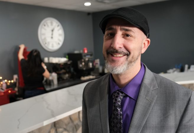 Cafe regular Richard Schwetz, who works in payroll solutions, is a strong supporter of President Trump — which can be a rarity at the cafe. (Matt Smith for Keystone Crossroads)