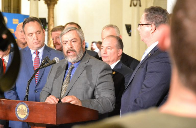State Sen. Pat Browne, R-Lehigh, addresses reporters after Gov. Tom Wolf's budget address Tuesday. (Brett Sholtis/PA Post)