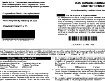 "The Republican National Committee has mailed forms, called the ""2020 Congressional District Census,"" to selected homes in Montgomery and Berks counties in recent weeks. (Provided)"