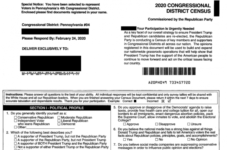"""The Republican National Committee has mailed forms, called the """"2020 Congressional District Census,"""" to selected homes in Montgomery and Berks counties in recent weeks. (Provided)"""