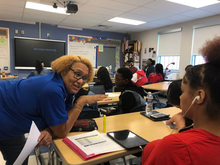 Ronda Laws teaches math at Howard High School of technology, a vocational school in Wilmington, Del.  (Cris Barrish/WHYY)