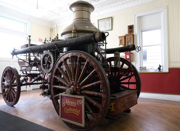 A 1909 Ahrens Continental steam fire engine is displayed at the Schuylkill Historical Fire Society in Shenandoah, Pennsylvania. (Matt Smith for Keystone Crossroads)