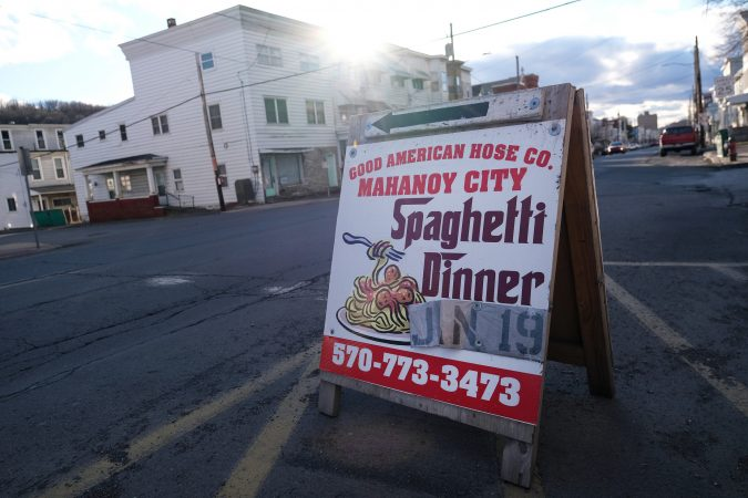 A sign for a spaghetti dinner to benefit Good American Hose Co. in Tamaqua, Pennsylvania. (Matt Smith for Keystone Crossroads)