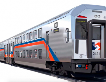 This rendering shows the double-deck passenger coach being built for use on SEPTA's Regional Rail system by CRRC Corporation Limited. (CRRC)