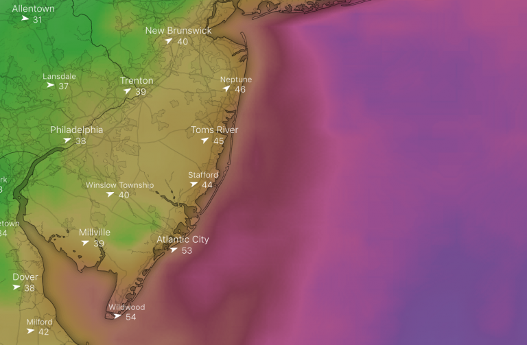 The wind gust forecast for 2 p.m. Friday. (windy.com)