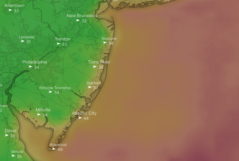 The wind gust forecast for 11 a.m. Thursday. (Windy.com screenshot)