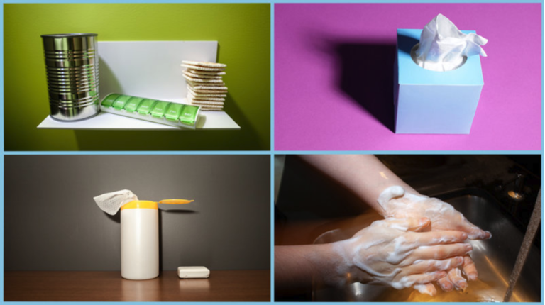 Worried about coronavirus? Keep some nonperishable food items and medicine stocked on hand, and follow flu prevention protocol like sneezing into a tissue, disinfecting surfaces and washing your hands frequently with soap and water. Photo Illustration by Max Posner/NPR and Tony Latham/Corbis/Getty Images